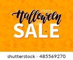 halloween sale vector banner... | Shutterstock .eps vector #485569270