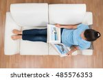 high angle view of young woman... | Shutterstock . vector #485576353