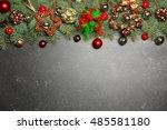 christmas composition with fir... | Shutterstock . vector #485581180