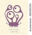 cute monster on retro grunge... | Shutterstock .eps vector #485581333