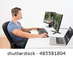 young man playing game on...   Shutterstock . vector #485581804