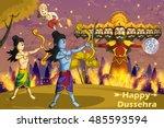 rama killing ravana during... | Shutterstock .eps vector #485593594