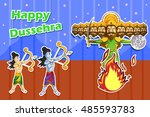 rama killing ravana during... | Shutterstock .eps vector #485593783
