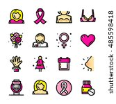 thin line breast cancer... | Shutterstock .eps vector #485598418