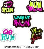 fashion patch badges. sticker... | Shutterstock .eps vector #485598484
