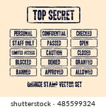 top secret grunge stamp vector... | Shutterstock .eps vector #485599324
