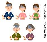 abdominal pain of men and women | Shutterstock .eps vector #485599366