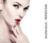 closeup portrait of sexy... | Shutterstock . vector #485601568