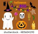vector set halloween theme.... | Shutterstock .eps vector #485604190