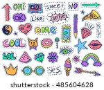 patch badges set. doodle sketch ... | Shutterstock .eps vector #485604628
