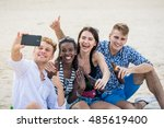 four young cheerful people... | Shutterstock . vector #485619400