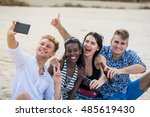 four young cheerful people... | Shutterstock . vector #485619430