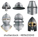 medieval helmets | Shutterstock .eps vector #485623243