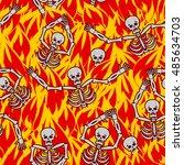 sinners in fire hell seamless... | Shutterstock .eps vector #485634703