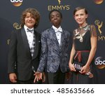 Small photo of LOS ANGELES - SEP 18: Gaten Matarazzo, Caleb McLaughlin, Millie Bobby Brown at the 2016 Primetime Emmy Awards - Arrivals at the Microsoft Theater on September 18, 2016 in Los Angeles, CA