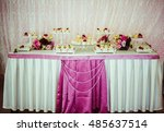 buffet with sweets covered with ... | Shutterstock . vector #485637514