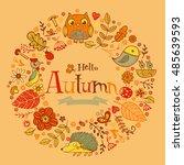 hello autumn banner in doodle... | Shutterstock .eps vector #485639593