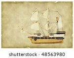 ship on old paper | Shutterstock . vector #48563980