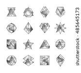 retro memphis holographic icon  ... | Shutterstock .eps vector #485645173