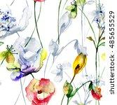 seamless wallpaper with flowers ... | Shutterstock . vector #485655529