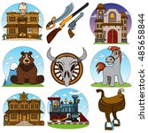 set of color illustrations on... | Shutterstock .eps vector #485658844