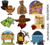 set of color illustrations on... | Shutterstock .eps vector #485658904