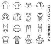 Stock vector outerwear icons set clothing collection symbols thin line design 485671153