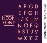 neon font alphabet icon. text... | Shutterstock .eps vector #485671360