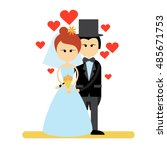cartoon marriage couple fiance... | Shutterstock .eps vector #485671753
