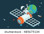 astronaut and satellite flying... | Shutterstock .eps vector #485675134