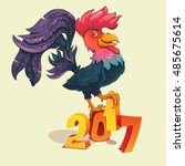 cartoon rooster stands on 2017... | Shutterstock .eps vector #485675614
