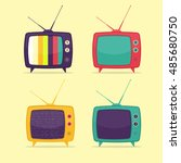 colorful retro tv set. flat... | Shutterstock .eps vector #485680750