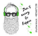 Man In Headphones. Hipster...