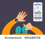 smartwatch on a wrist. fitness... | Shutterstock .eps vector #485688958