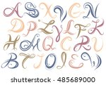 vector abc. hand drawn font... | Shutterstock .eps vector #485689000
