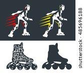 roller skates woman with roller ... | Shutterstock .eps vector #485696188