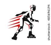 roller skates woman with roller ... | Shutterstock .eps vector #485696194