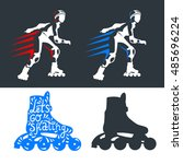 roller skates woman with roller ... | Shutterstock .eps vector #485696224