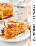 carrot cake with nuts  honey... | Shutterstock . vector #485703883