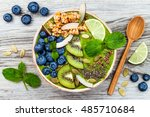 matcha green tea breakfast... | Shutterstock . vector #485710684