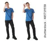 cute teenager boy in blue t... | Shutterstock . vector #485719558