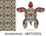 decorative turtle with ornament ... | Shutterstock .eps vector #485723026