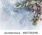 winter background with snowy... | Shutterstock . vector #485730298