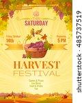 harvest festival poster.... | Shutterstock .eps vector #485737519
