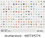 flat big collection set icons... | Shutterstock .eps vector #485739274
