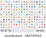 flat collection set icons of... | Shutterstock .eps vector #485739310