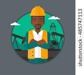 an african american oil worker...   Shutterstock .eps vector #485747113