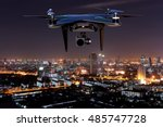 Drone Flying Over  City....