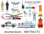 coast guard day flat icoms set. ...   Shutterstock .eps vector #485756173