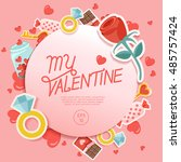 valentine's day elements   ... | Shutterstock .eps vector #485757424